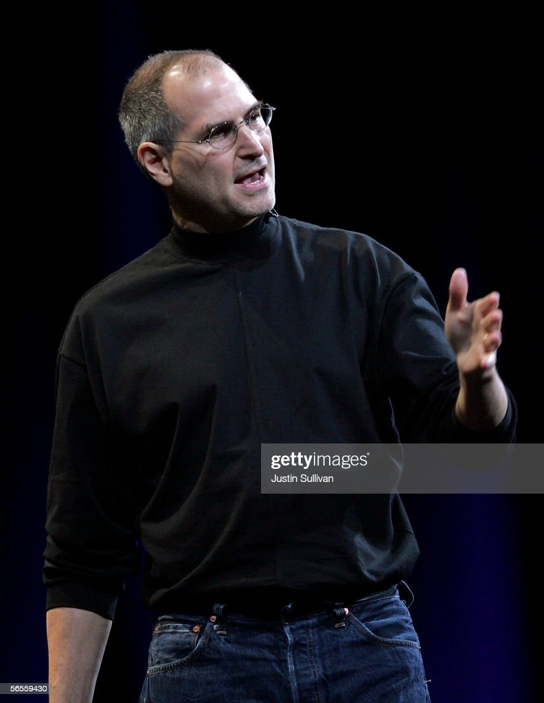 Apple CEO <a gi-track='captionPersonalityLinkClicked' href=/galleries/search?phrase=Steve+Jobs&family=editorial&specificpeople=204493 ng-click='$event.stopPropagation()'>Steve Jobs</a> delivers the keynote address during the 2006 Macworld January 10, 2006 in San Francisco. Jobs announced a new iMac G5 with Intel Core Duo processor as well as the new MacBook Pro laptop.