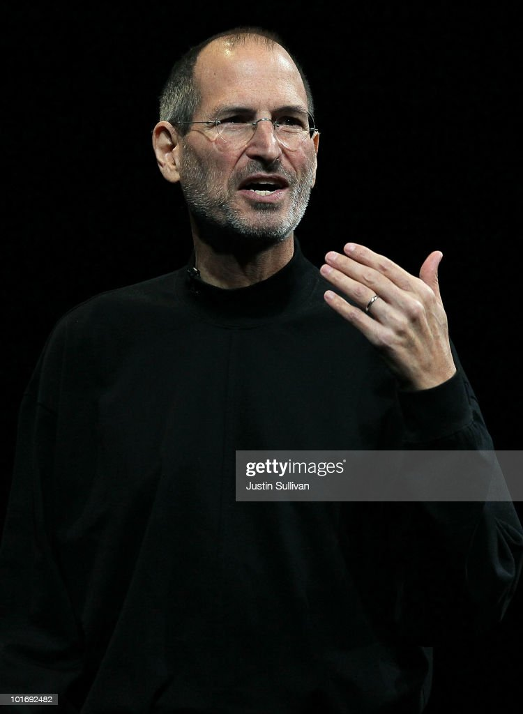 Apple CEO <a gi-track='captionPersonalityLinkClicked' href=/galleries/search?phrase=Steve+Jobs&family=editorial&specificpeople=204493 ng-click='$event.stopPropagation()'>Steve Jobs</a> delivers the opening keynote address at the 2010 Apple World Wide Developers conference June 7, 2010 in San Francisco, California. Jobs kicked off their annual WWDC with a keynote address and is expected to announce a new version of the iPhone.