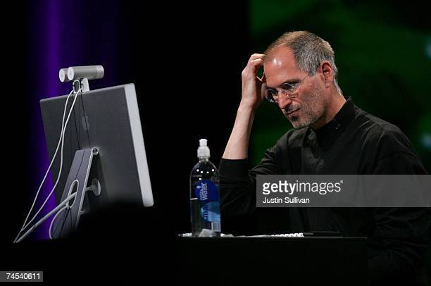 Apple CEO Steve Jobs gives a demonstration at the Apple Worldwide Web Developers Conference June 11 2007 in San Francisco California Jobs...