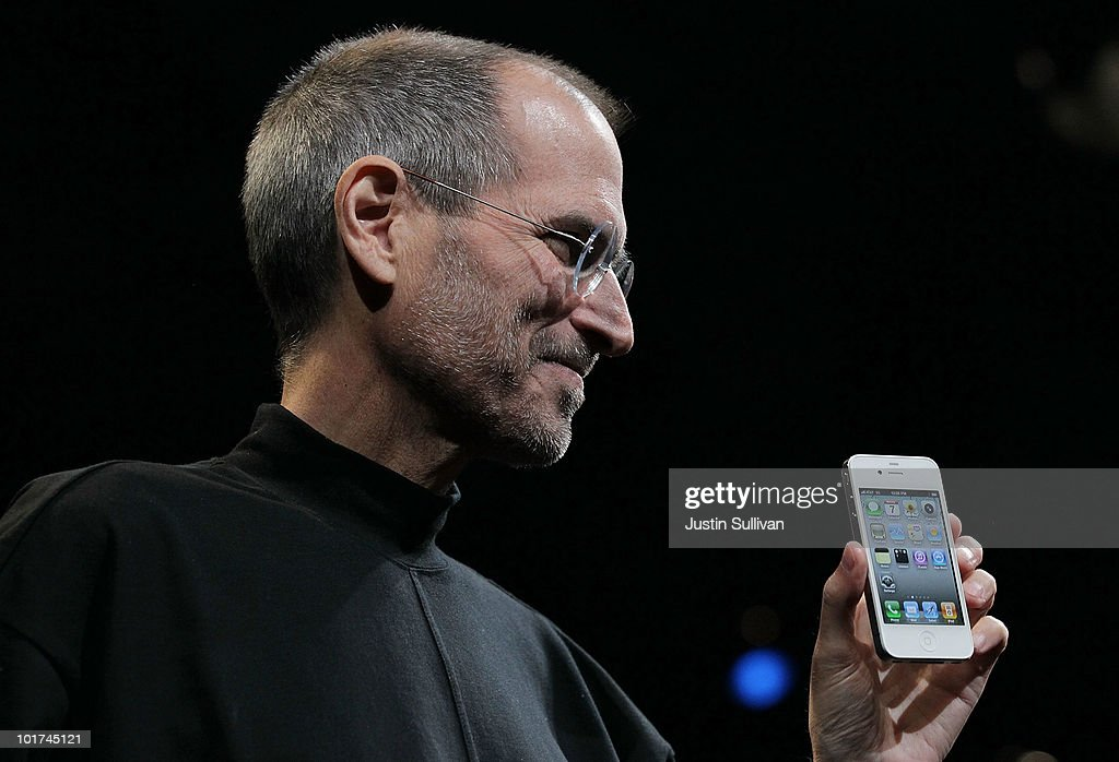 Apple CEO <a gi-track='captionPersonalityLinkClicked' href=/galleries/search?phrase=Steve+Jobs&family=editorial&specificpeople=204493 ng-click='$event.stopPropagation()'>Steve Jobs</a> holds the new iPhone 4 after he delivered the opening keynote address at the 2010 Apple World Wide Developers conference June 7, 2010 in San Francisco, California. Jobs kicked off their annual WWDC with the announcement of the new iPhone 4.