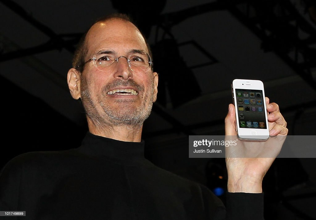 Apple CEO <a gi-track='captionPersonalityLinkClicked' href=/galleries/search?phrase=Steve+Jobs&family=editorial&specificpeople=204493 ng-click='$event.stopPropagation()'>Steve Jobs</a> holds the new iPhone 4 after he delivered the opening keynote address at the 2010 Apple World Wide Developers conference June 7, 2010 in San Francisco, California. Jobs kicked off the annual WWDC with the official unveiling of the latest version of the iPhone.