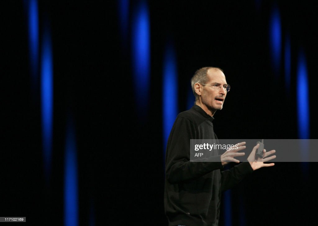 Apple CEO Steve Jobs introduces Apple's next generation computer operating system Mac OS X Lion, the mobile operating system iOS 5, and the internet storage service iCloud during the Apple Worldwide Developers Conference at the Moscone Center in San Francisco on May 6, 2011 in California. Apple chief executive Steve Jobs kicked off the company's annual conference for software developers here Monday during which he is expected to unveil an online music storage service called iCloud. Jobs, who has been on medical leave since January with an undisclosed ailment, took the stage to a standing ovation shortly after the music sound system at the Moscone Center here blared out James Brown's hit 'I Feel Good.'