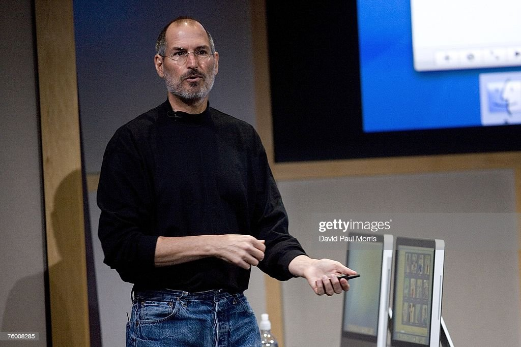 Apple CEO Steve Jobs introduces new versions of the iMac and iLife applications August 7, 2007 in Cupertino, California. The all-in-one desktop computers now have a slimmer design in aluminum casings with faster chips and glossy screens and is up to $300 cheaper then their predecessors.