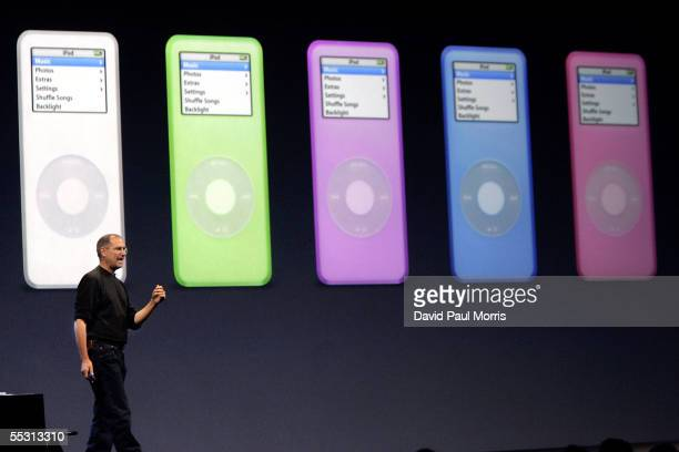 Apple CEO Steve Jobs introduces the new iPod cell phone made by Motorola and the new iPod nano which is thinner than a No 2 pencil September 7 2005...