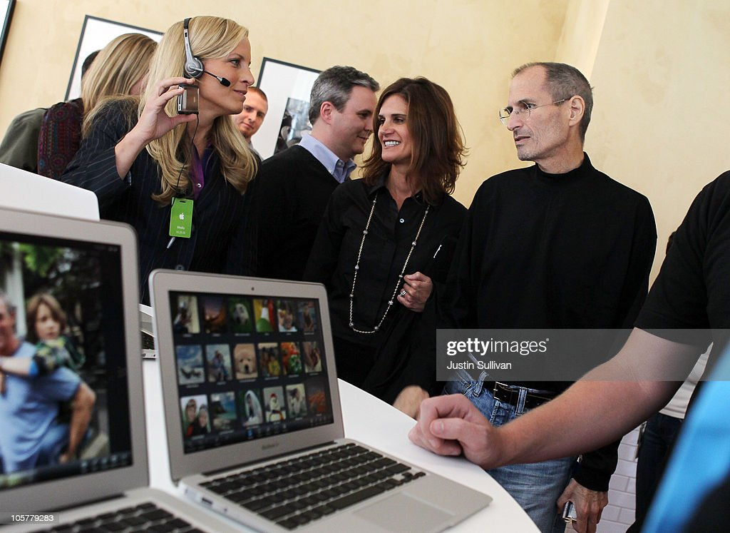 Apple CEO <a gi-track='captionPersonalityLinkClicked' href=/galleries/search?phrase=Steve+Jobs&family=editorial&specificpeople=204493 ng-click='$event.stopPropagation()'>Steve Jobs</a> (R) looks at a display of the new MacBook Air during an Apple special event at the company's headquarters on October 20, 2010 in Cupertino, California. Apple CEO <a gi-track='captionPersonalityLinkClicked' href=/galleries/search?phrase=Steve+Jobs&family=editorial&specificpeople=204493 ng-click='$event.stopPropagation()'>Steve Jobs</a> announced the new MacBook Air in eleven and thirteen inch models starting at $999. He also announced the OSX Lion operating system for Mac computers.