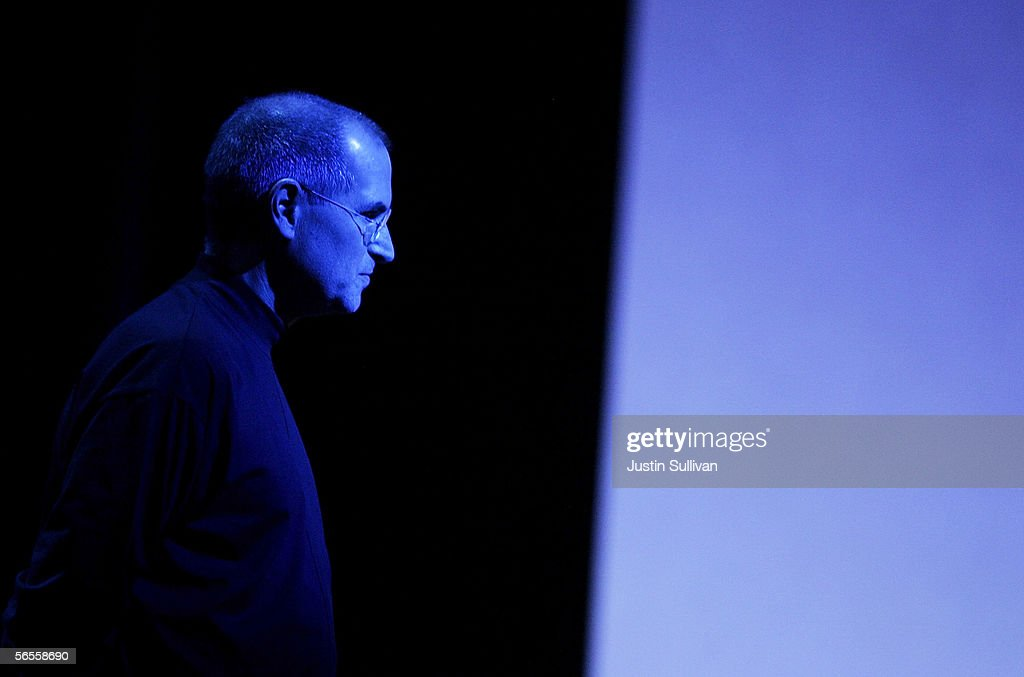 Apple CEO <a gi-track='captionPersonalityLinkClicked' href=/galleries/search?phrase=Steve+Jobs&family=editorial&specificpeople=204493 ng-click='$event.stopPropagation()'>Steve Jobs</a> pauses as he delivers the keynote address during the 2006 Macworld January 10, 2006 in San Francisco, California. Jobs announced a new iMac with Intel Core Duo processor as well as the new MacBook Pro laptop.