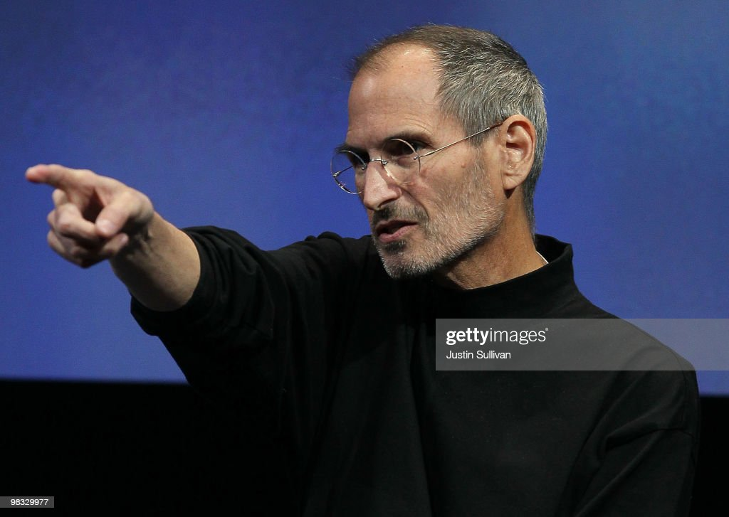 Apple CEO Steve Jobs points during a Q & A session during an Apple special event April 8, 2010 in Cupertino, California. Jobs announced the new iPhone OS4 software.