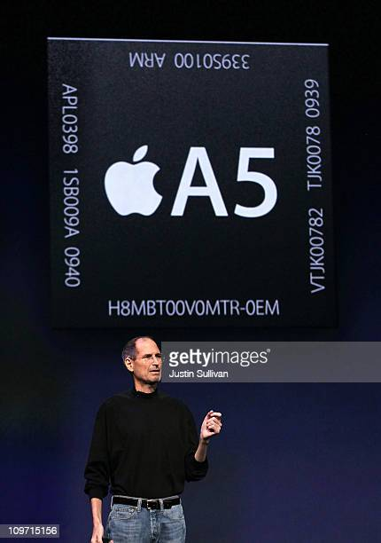 Apple CEO Steve Jobs speaks about the A5 dual processor during an Apple Special event to unveil the new iPad 2 at the Yerba Buena Center for the Arts...