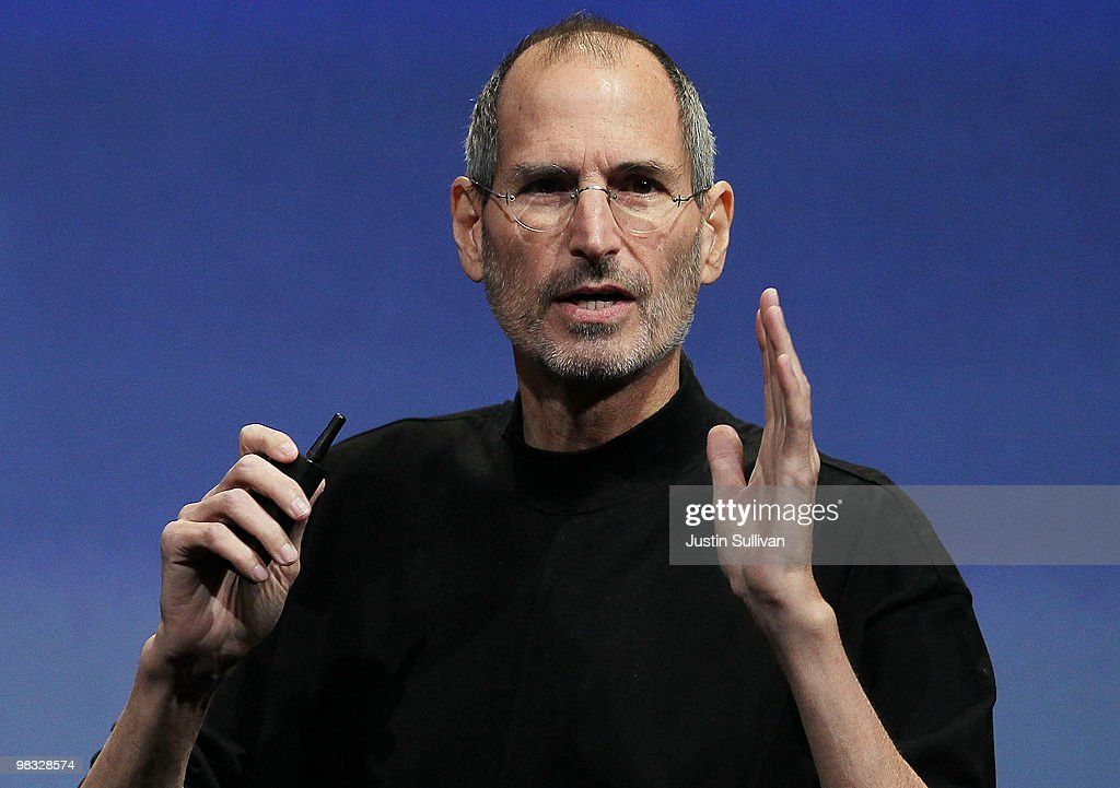 Apple CEO <a gi-track='captionPersonalityLinkClicked' href=/galleries/search?phrase=Steve+Jobs&family=editorial&specificpeople=204493 ng-click='$event.stopPropagation()'>Steve Jobs</a> speaks during an Apple special event April 8, 2010 in Cupertino, California. Jobs announced the new iPhone OS4 software.
