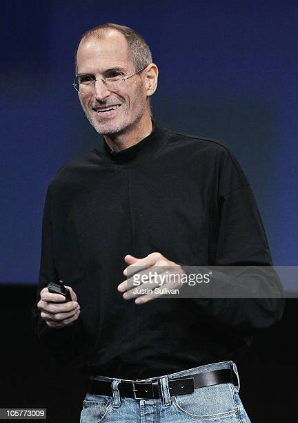 Apple CEO Steve Jobs speaks during an Apple special event at the company's headquarters on October 20 2010 in Cupertino California Apple is expected...