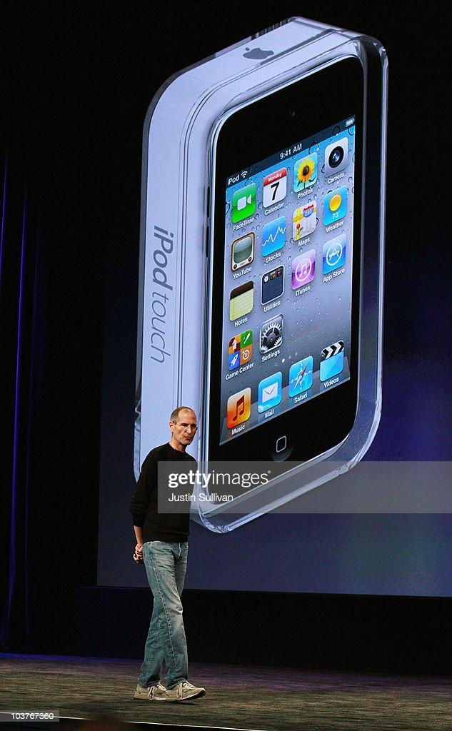 Apple CEO <a gi-track='captionPersonalityLinkClicked' href=/galleries/search?phrase=Steve+Jobs&family=editorial&specificpeople=204493 ng-click='$event.stopPropagation()'>Steve Jobs</a> speaks during an Apple Special Event at the Yerba Buena Center for the Arts September 1, 2010 in San Francisco, California. Jobs announced upgraded versions of the entire iPod line, including an iPod Touch that includes a camera.