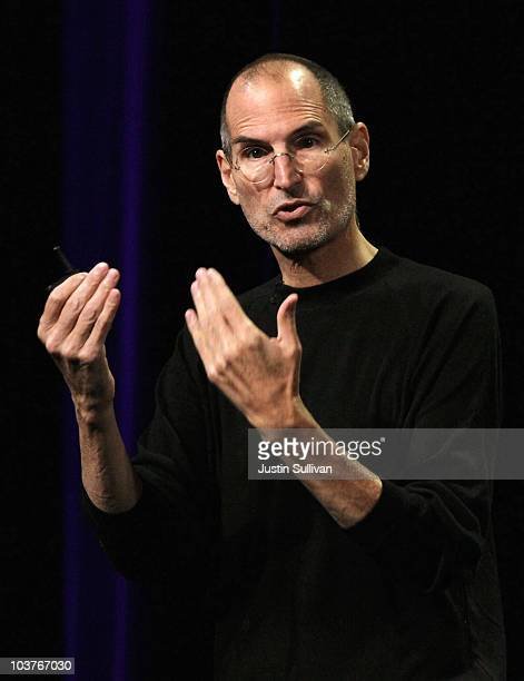Apple CEO Steve Jobs speaks during an Apple Special Music Event at the Yerba Buena Center for the Arts September 1 2010 in San Francisco California...