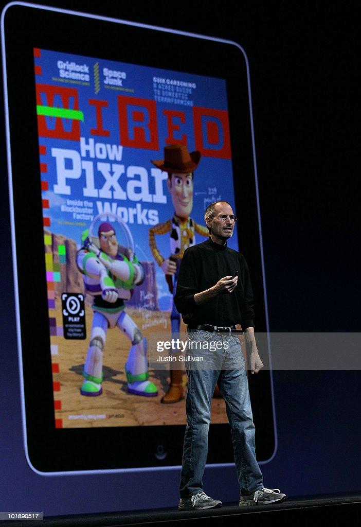 Apple CEO <a gi-track='captionPersonalityLinkClicked' href=/galleries/search?phrase=Steve+Jobs&family=editorial&specificpeople=204493 ng-click='$event.stopPropagation()'>Steve Jobs</a> speaks in front of a display featuring Wired Magazine on an iPad as he delivered the opening keynote address at the 2010 Apple World Wide Developers conference June 7, 2010 in San Francisco, California. Jobs kicked off their annual WWDC with the announcement of the new iPhone 4.