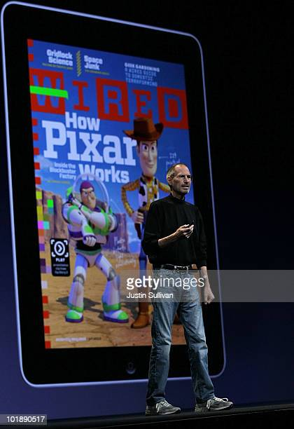 Apple CEO Steve Jobs speaks in front of a display featuring Wired Magazine on an iPad as he delivered the opening keynote address at the 2010 Apple...