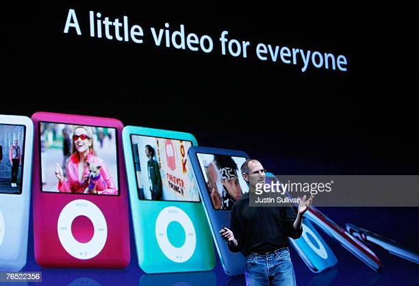 Apple CEO Steve Jobs talks about the iPod Nano during an Apple Special event September 5 2007 in San Francisco California Jobs announced a new...