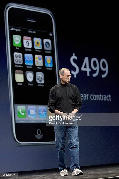 Apple CEO Steve Jobs talks about the price of the new iPhone that was introduced at Macworld on January 9 2007 in San Francisco California The new...