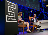 Apple Ceo Tim Cook and Neelie Kroes attend the kickoff of Startup Fest Europe on May 24 2016 in Amsterdam The Netherlands The event facilitates...