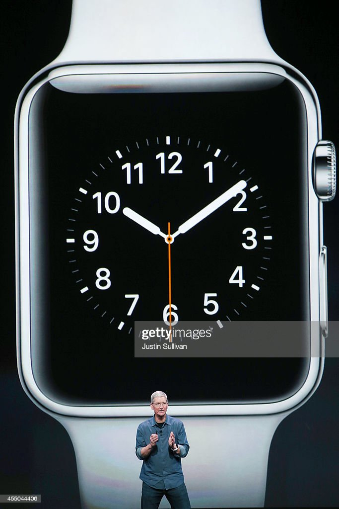 Apple CEO <a gi-track='captionPersonalityLinkClicked' href=/galleries/search?phrase=Tim+Cook+-+Business+Executive&family=editorial&specificpeople=8084206 ng-click='$event.stopPropagation()'>Tim Cook</a> announces the Apple Watch during an Apple special event at the Flint Center for the Performing Arts on September 9, 2014 in Cupertino, California. Apple unveiled the Apple Watch wearable tech and two new iPhones, the iPhone 6 and iPhone 6 Plus.