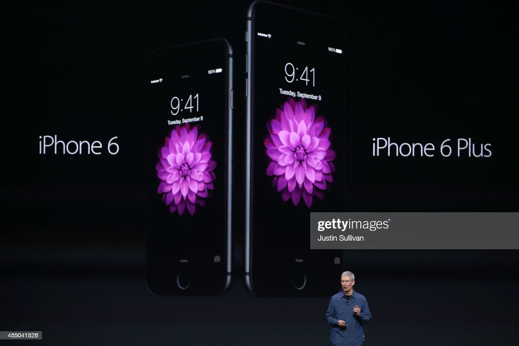 Apple CEO Tim Cook announces the iPhone 6 during an Apple special event at the Flint Center for the Performing Arts on September 9, 2014 in Cupertino, California. Apple is expected to unveil the new iPhone 6 and wearble tech.