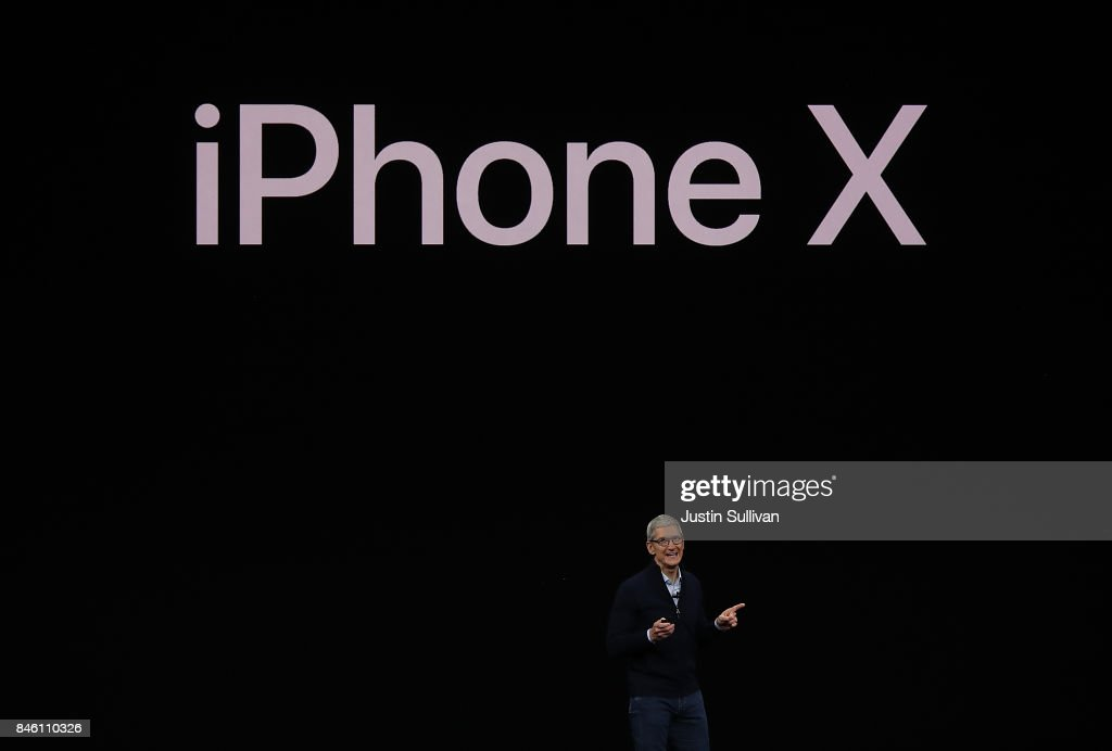 Apple CEO Tim Cook announces the new iPhone X during an Apple special event at the Steve Jobs Theatre on the Apple Park campus on September 12, 2017 in Cupertino, California. Apple is holding their first special event at the new Apple Park campus where they are expected to unveil a new iPhone.