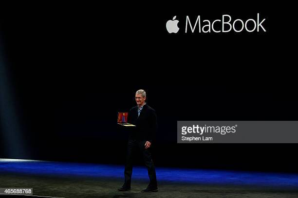 Apple CEO Tim Cook announces the new MacBook during an Apple special event at the Yerba Buena Center for the Arts on March 9 2015 in San Francisco...