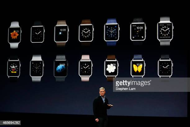 Apple CEO Tim Cook debuts the Apple Watch collection during an Apple special event at the Yerba Buena Center for the Arts on March 9 2015 in San...