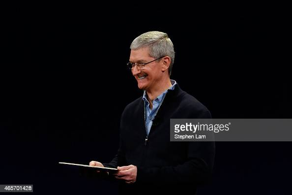 Apple CEO Tim Cook debuts the new MacBook during an Apple special event at the Yerba Buena Center for the Arts on March 9 2015 in San Francisco...