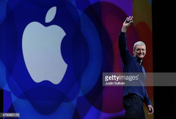 Apple CEO Tim Cook delivers the keynote address during Apple WWDC on June 8 2015 in San Francisco California Apple annouced a new OS X El Capitan and...