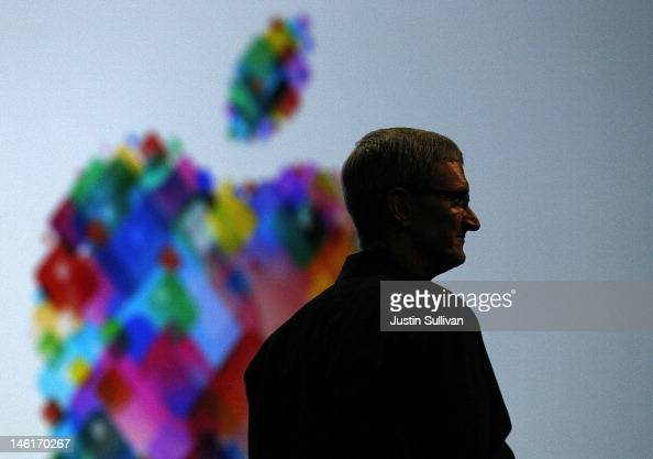Apple CEO Tim Cook delivers the keynote address during the Apple 2012 World Wide Developers Conference at Moscone West on June 11 2012 in San...