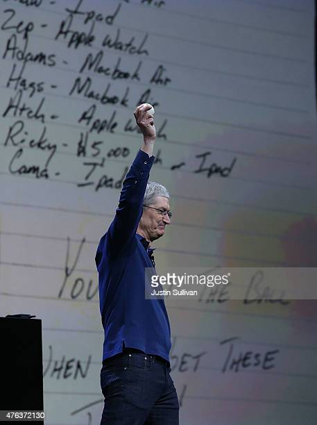 Apple CEO Tim Cook delivers the keynote address during the Apple WWDC on June 8 2015 in San Francisco California Apple annouced a new OS X El Capitan...