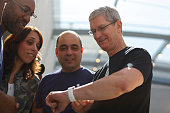 Apple CEO Tim Cook displays his personal Apple Watch to customers at an Apple Store on April 10 2015 in Palo Alto California The preorders of the...