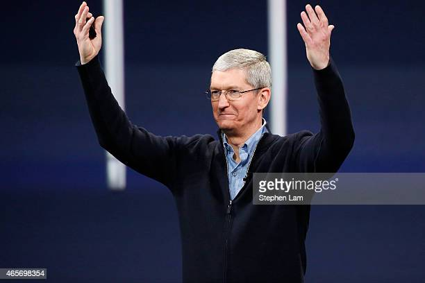 Apple CEO Tim Cook gestures on stage during an Apple special event at the Yerba Buena Center for the Arts on March 9 2015 in San Francisco California...