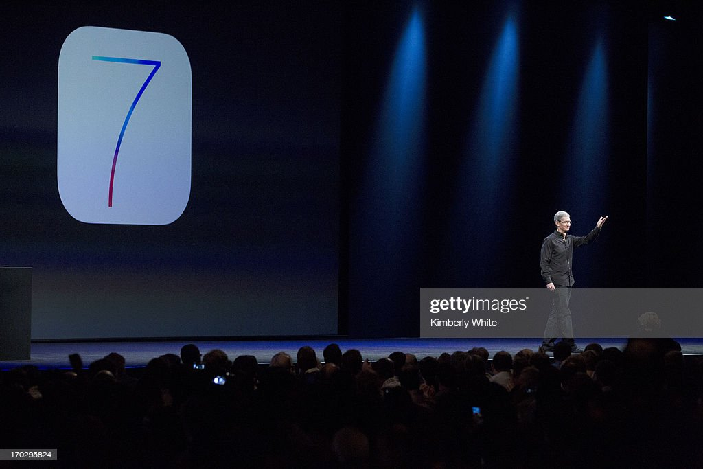 Apple CEO Tim Cook introduces iOS7 mobile operating device at a keynote address during the 2013 Apple Worldwide Developers Conference at the Moscone Center on June 10, 2013 in San Francisco, California. Apple's annual developer conference runs through June 14.