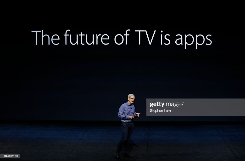 Apple CEO Tim Cook introduces the New Apple TV during a Special Event at Bill Graham Civic Auditorium September 9 2015 in San Francisco California...