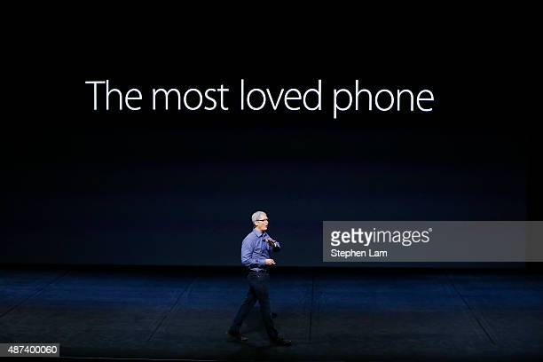 Apple CEO Tim Cook introduces the new iPhone 6s and 6s Plus during a Special Event at Bill Graham Civic Auditorium September 9 2015 in San Francisco...