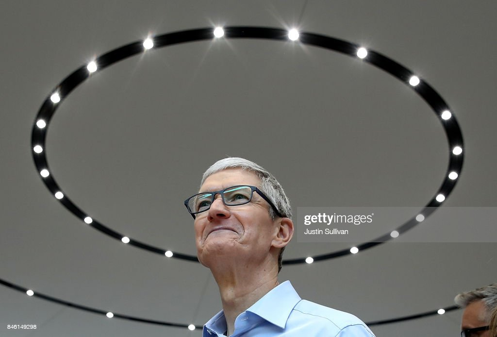 Apple CEO Tim Cook looks on during an Apple special event at the Steve Jobs Theatre on the Apple Park campus on September 12, 2017 in Cupertino, California. Apple held their first special event at the new Apple Park campus where they announced the new iPhone 8, iPhone X and the Apple Watch Series 3.