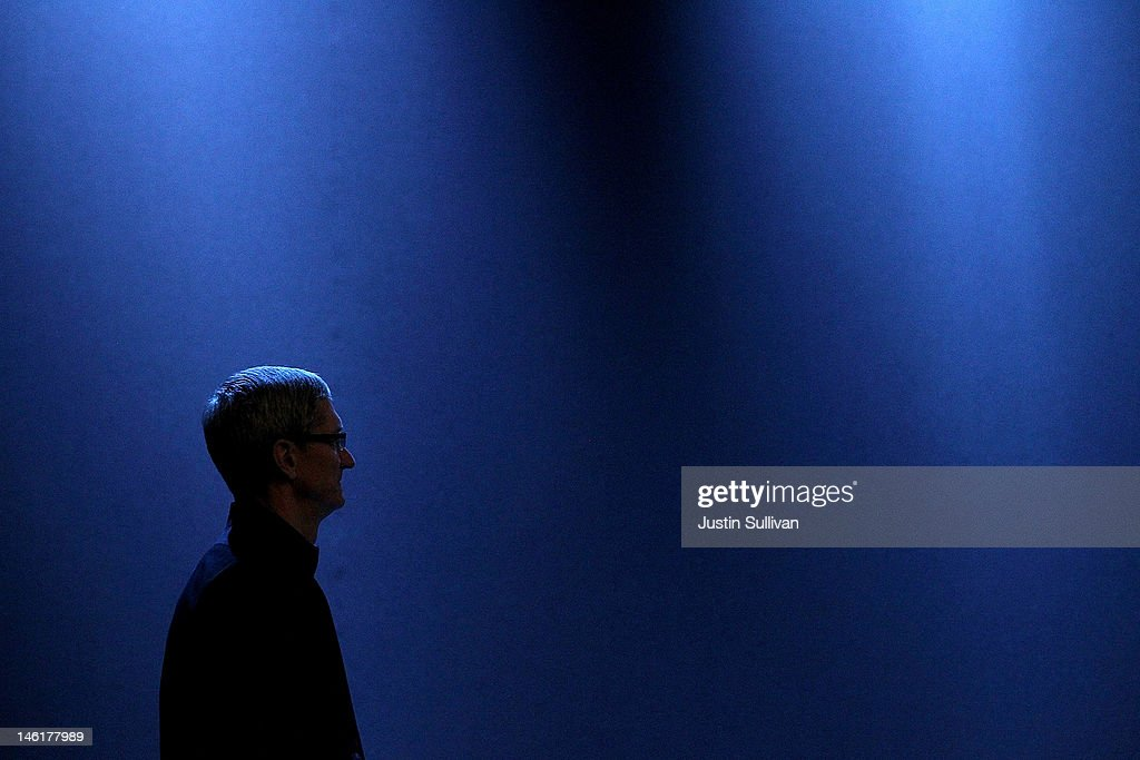 Apple CEO Tim Cook looks on during the keynote address at the Apple 2012 World Wide Developers Conference (WWDC) at Moscone West on June 11, 2012 in San Francisco, California. Apple unveiled a slew of new hardware and software updates at the company's annual developer conference which runs through June 15.