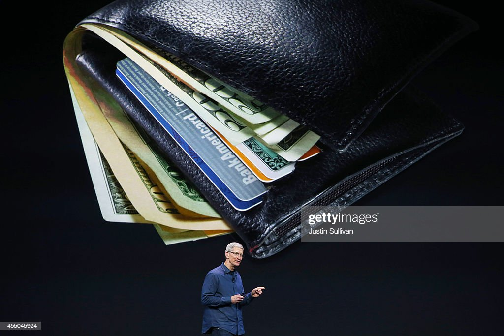 Apple CEO Tim Cook speaks about Apple Pay during an Apple special event at the Flint Center for the Performing Arts on September 9 2014 in Cupertino...