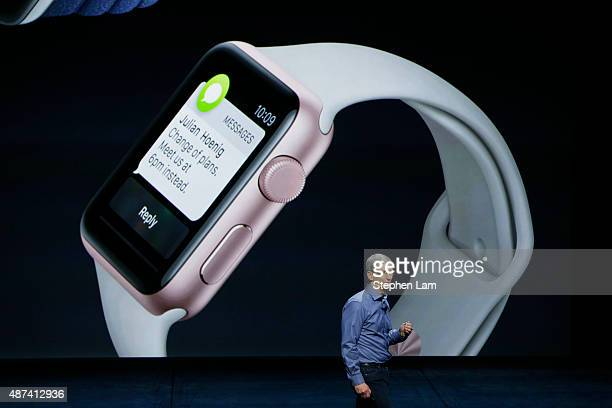Apple CEO Tim Cook speaks about the Apple Watch during a Special Event at Bill Graham Civic Auditorium September 9 2015 in San Francisco California...