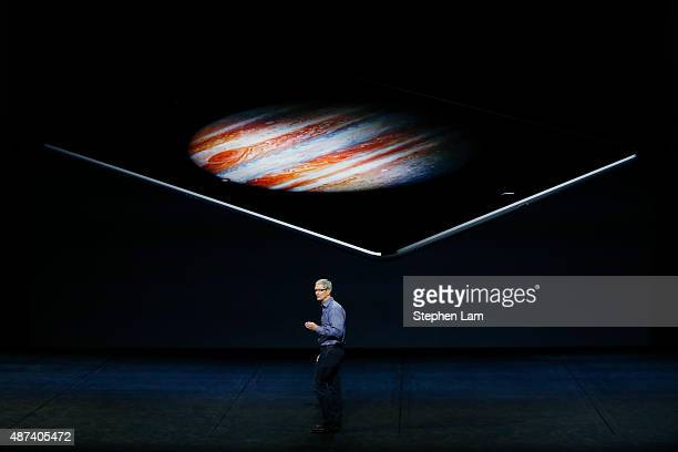 Apple CEO Tim Cook speaks about the iPad Pro during a Special Event at Bill Graham Civic Auditorium September 9 2015 in San Francisco California...