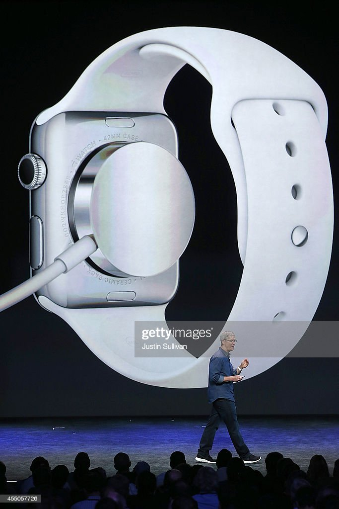 Apple CEO <a gi-track='captionPersonalityLinkClicked' href=/galleries/search?phrase=Tim+Cook+-+Business+Executive&family=editorial&specificpeople=8084206 ng-click='$event.stopPropagation()'>Tim Cook</a> speaks about the new Apple Watch during an Apple special event at the Flint Center for the Performing Arts on September 9, 2014 in Cupertino, California. Apple unveiled the Apple Watch wearable tech and two new iPhones, the iPhone 6 and iPhone 6 Plus.