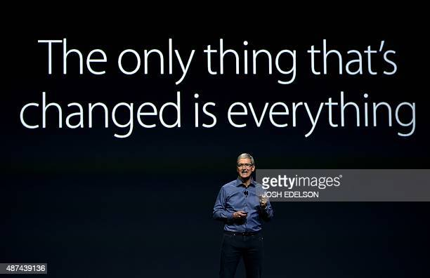 Apple CEO Tim Cook speaks during a media event in San Francisco California on September 9 2015 Apple unveiled its iPad Pro saying the largescreen...