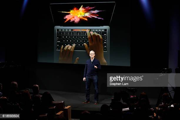 Apple CEO Tim Cook speaks during a product launch event on October 27 2016 in Cupertino California Apple Inc unveiled the latest iterations of its...