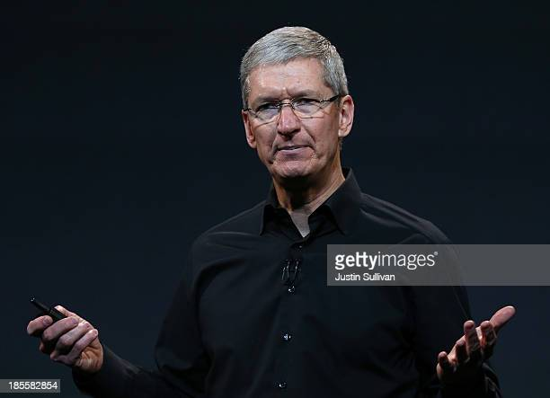 Apple CEO Tim Cook speaks during an Apple announcement at the Yerba Buena Center for the Arts on October 22 2013 in San Francisco California The tech...