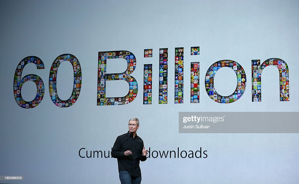 Apple CEO <a gi-track='captionPersonalityLinkClicked' href=/galleries/search?phrase=Tim+Cook+-+Business+Executive&family=editorial&specificpeople=8084206 ng-click='$event.stopPropagation()'>Tim Cook</a> speaks during an Apple announcement at the Yerba Buena Center for the Arts on October 22, 2013 in San Francisco, California. The tech giant announced its new iPad Air, a new iPad mini with Retina display, OS X Mavericks and highlighted its Mac Pro.