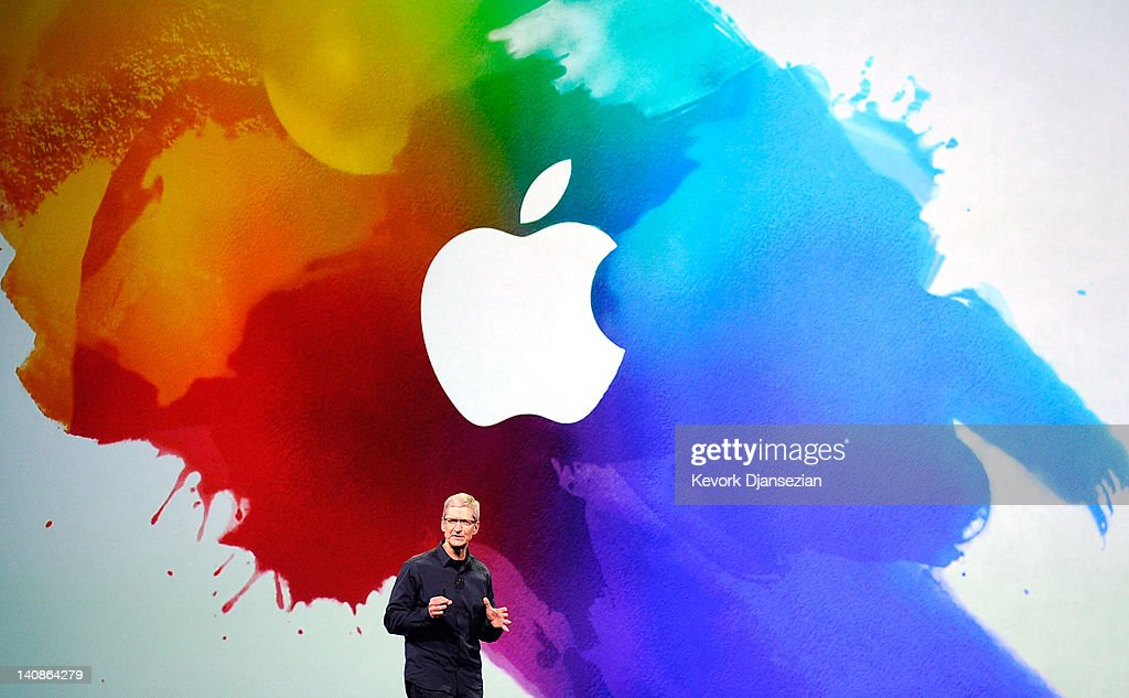 Apple CEO Tim Cook speaks during an Apple product launch event at Yerba Buena Center for the Arts on March 7 2012 in San Francisco California In the...