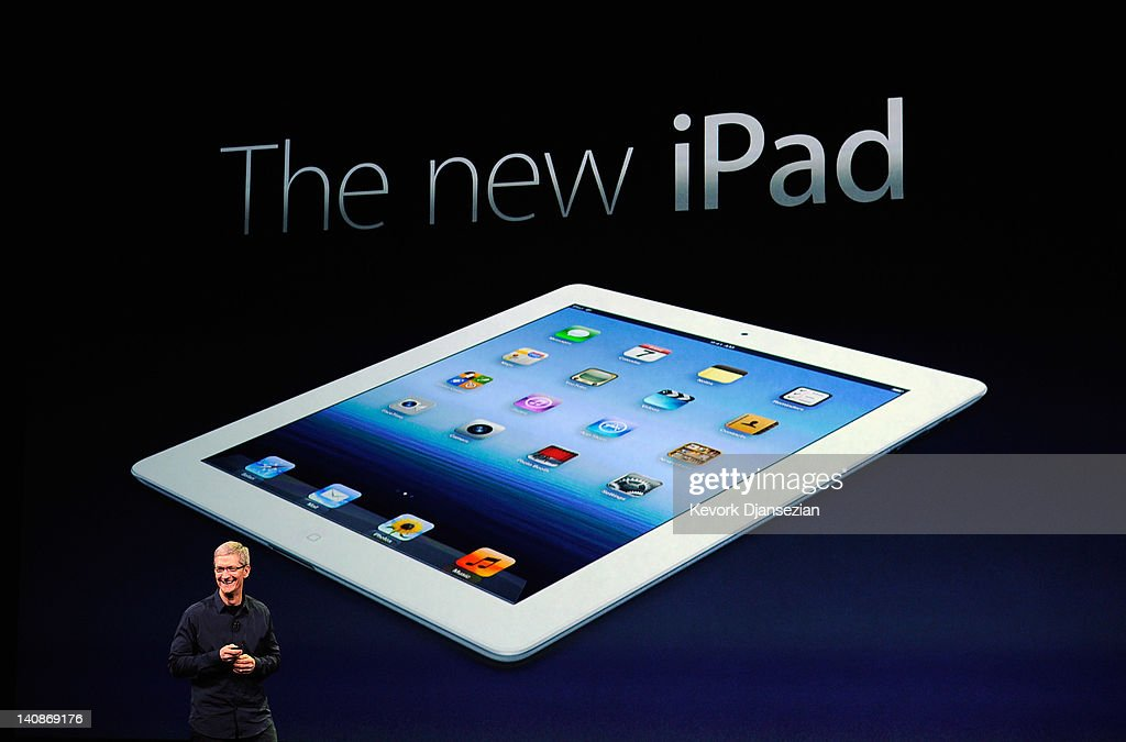 Apple CEO Tim Cook speaks during an Apple product launch event at Yerba Buena Center for the Arts on March 7, 2012 in San Francisco, California. In the first product release following the death of Steve Jobs, Apple Inc. introduced the third version of the iPad and an updated Apple TV.
