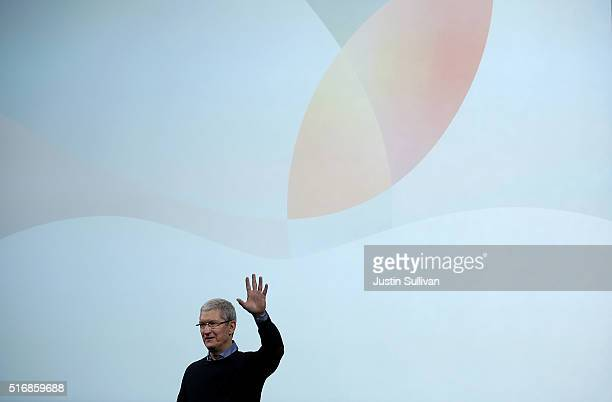 Apple CEO Tim Cook speaks during an Apple special event at Apple headquarters on March 21 2016 in Cupertino California Apple CEO TIm Cook announced...