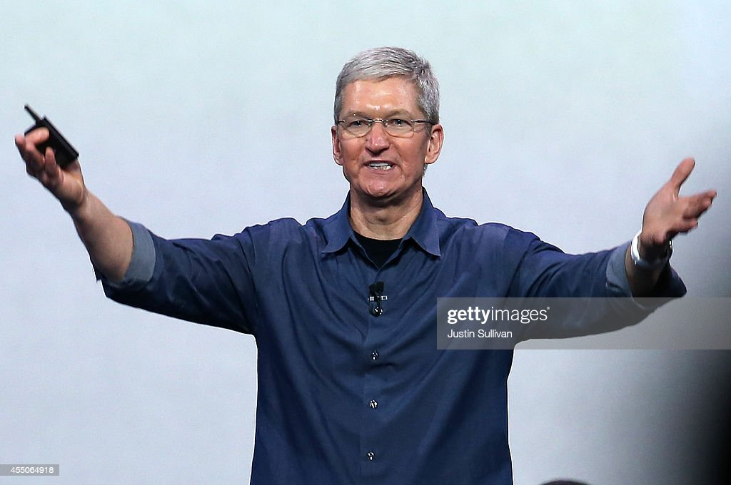 Apple CEO <a gi-track='captionPersonalityLinkClicked' href=/galleries/search?phrase=Tim+Cook+-+Business+Executive&family=editorial&specificpeople=8084206 ng-click='$event.stopPropagation()'>Tim Cook</a> speaks during an Apple special event at the Flint Center for the Performing Arts on September 9, 2014 in Cupertino, California. Apple announced the new iPhone 6 and Apple Watch.
