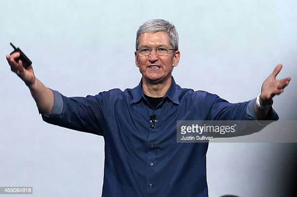 Apple CEO Tim Cook speaks during an Apple special event at the Flint Center for the Performing Arts on September 9 2014 in Cupertino California Apple...